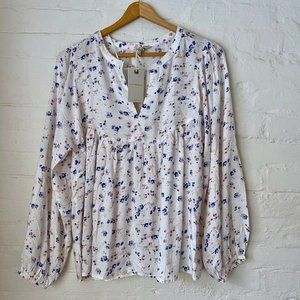 NWT Lucky Brand White Floral Peasant Blouse Size S